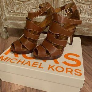 Michael Kors brown leather heels, size 8